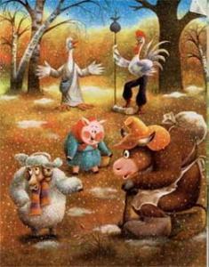 Сказка Бык, баран, гусь, петух и волк  читать с картинками онлайн сказка о животных